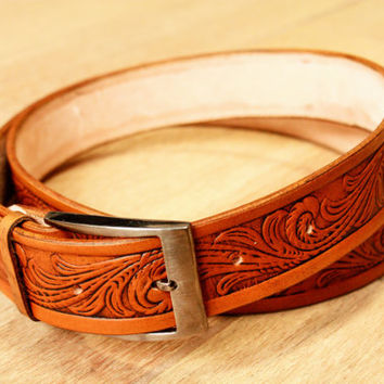 tooled leather belt, western belts, leather belts, mens western belts, cowboy belt, custom leather belts handmade leather belts vintage belt