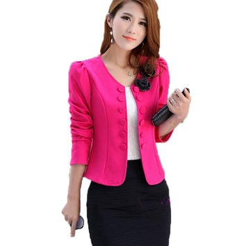 2016 New Long-Sleeve Slim Women Autumn Flower Blazers Jackets Small Suit Korean Version Blazer Female OL Office Coat A276