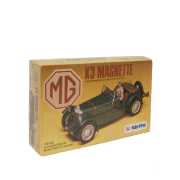 Vintage Model Car MG K3 Magnette New Old Stock - British Sports Car of the 1930s - 1/32 Scale Unassembled Model Kit by US Airfix - 1980