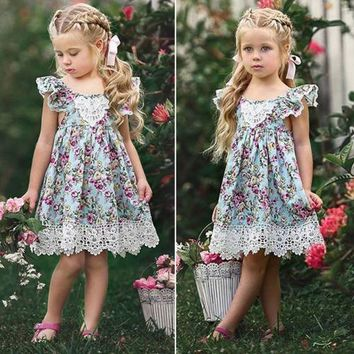 2018 New Flower Lace Dress Princess Kids Baby Girls Sleeveless Dress Floral Tulle Party Wedding Dress Children Summer Sundress
