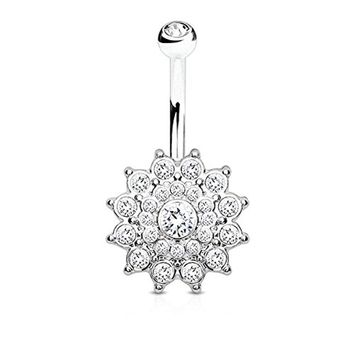 BodyJ4You Belly Button Ring Jeweled Tiered Flower Crystal 14G Stainless Steel Navel Bar