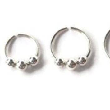 925 Sterling Silver Beaded Septum Ring,Nose Ring piercing ring,cartilage,helix,tragus,ear hoop 20 Gauge Diameter 7mm