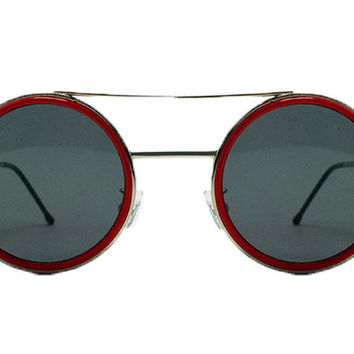 Spitfire - Sonic Silver & Red Sunglasses, Black Lenses
