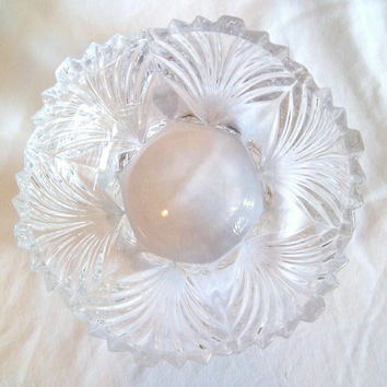 Vintage Lead Crystal Scalloped Bowl