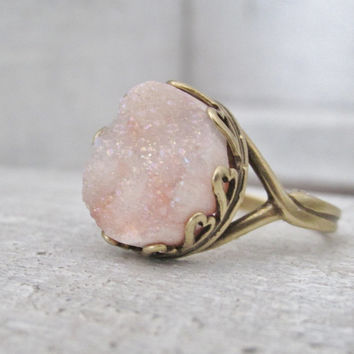 Peach Druzy Adjustable Ring, Unique Rings, Round Druzy Stone Ring, Bronze/Gold Ring, Druzy Jewelry