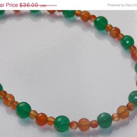 33%OFF Green Jade  and Carnelian Necklace and Earrings