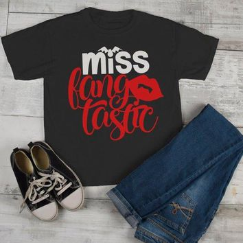 Girl's Cute Halloween T Shirt Miss Fang Tastic Bat Vampire Toddler Shirts Adorable Halloween Tee