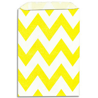 Yellow Chevron Stripe Paper Bags