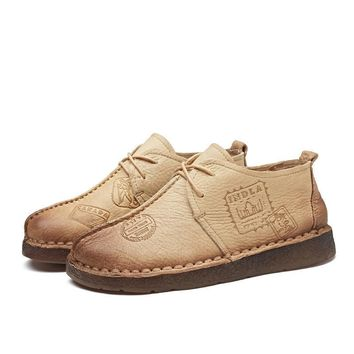 Handmade Women Flat Shoes Solid Round Toe  Leather Casual Shoes Hand-Sewing Female Moccasins Women Shoes