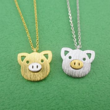Little Piggy Pig Face Shaped Charm Necklace in Silver or Gold