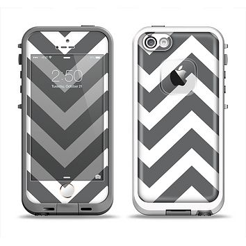 The Sharp Gray & White Chevron Pattern Apple iPhone 5-5s LifeProof Fre Case Skin Set