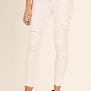 Moto Zipper Jeggings - Off White