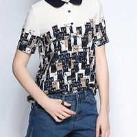 L&M White Cute Cats Print T Shirt Short Sleeve Top With Shirt Collar For Women