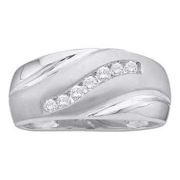10kt White Gold Men's Round Channel-set Diamond Wedding Anniversary Band Ring 1/4 Cttw - FREE Shipping (US/CAN)