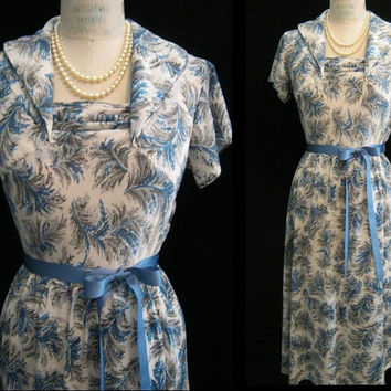 Vintage 40s FERN Print DRESS WWII Era Swing Dance Nylon Tricot Perfect for Travel  Bust 42""