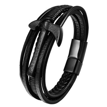 Men's Axe Rope Leather Braided Bracelets