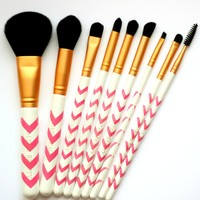 Makeup Brush Set - 9pc Pink Chevron Professional Makeup Brushes Set Plus Makeup ...