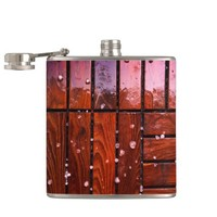 Cool Brown Wooden Ply texture With Wintry Snow Ice Flask