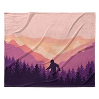 "KESS Original ""Big Foot"" Pink Purple Fleece Throw Blanket"