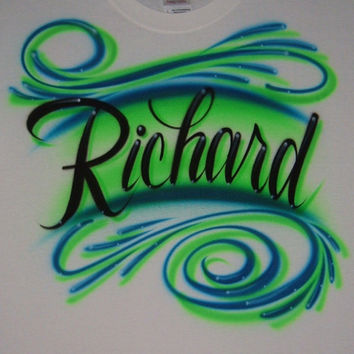 Airbrush T Shirt with Personalized Script Name and Swirls