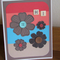 Color Block Handmade All Occasion Card Featuring Southwest Colors, Buttons, Cut Flowers, and Letter Tiles