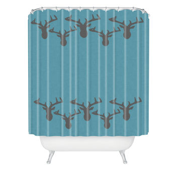 Natt Deers In The Blue Shower Curtain