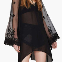 Black Floral Sheer Lace Bell Sleeve V-Neck Dress Cover-up