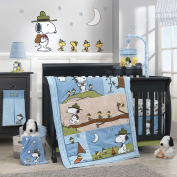Lambs & Ivy Snoopy's Campout 5 Piece Baby Nursery Crib Bedding Set w/ Bumper NEW