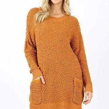 Round neck Popcorn sweater tunic with pockets