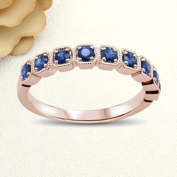 Solid Gold Promise Ring 0.63cts 14k Rose Gold Blue Sapphire Stackable Wedding Band