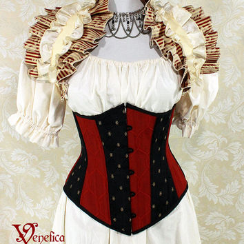 """Harley Quinn Inspired Black & Red Patchwork Underbust Corset - Front Busk - Corset Size 36, Best Fits Waist 39-41"""" - Ready to Ship"""