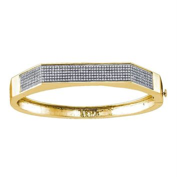 Yellow-tone Sterling Silver Womens Round Diamond Faceted Bangle Bracelet 1.00 Cttw