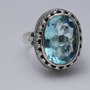 Beautiful Ring,Blue Topaz Rings,Sterling Silver,Gemstone,One of a Kind,Size 8.5,Engagement,Statement ring,Sky Blue Topaz,Anniversary Rings,
