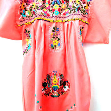 Embroidered mexican blouse, coral pink mexican blouse,Embroidered mexican top,spring pink blouse,Miyuki bead  tee, Bohemian T-shirt sequins.