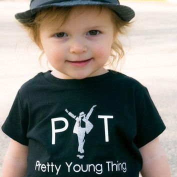 PYT pretty young thing Michael Jackson shirt, music king of pop tshirt girl glitter
