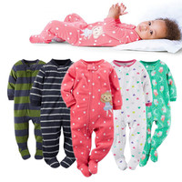 2016 new baby girl clothes , soft fleece kids one pieces Jumpsuits Pajamas newborn infant girl boys clothes baby costumes bebes
