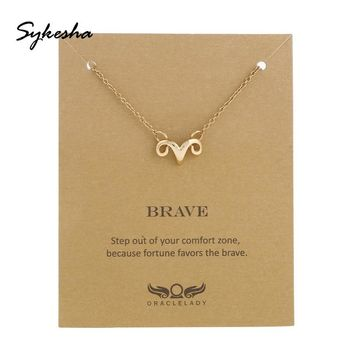 2018 Customize Ram Strong Brave Necklace Aries Necklace Zodiac Constellation Horoscope Astrology Friendship Necklace for Student