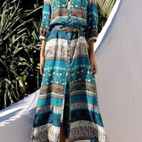Green Floral Single Breasted Drawstring Plunging Neckline Bohemian Maxi Dress