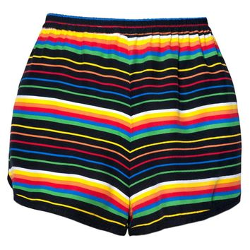 Seventies Runner Shorts in Black Rainbow Stripe by Motel