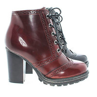 Tracker05 Round Toe Contrast Stitching Lace Up Lug Sole High Heel Boots