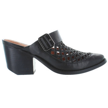 Jeffrey Campbell Route 66CT - Black Leather Laser Cut Western Bootie Slide