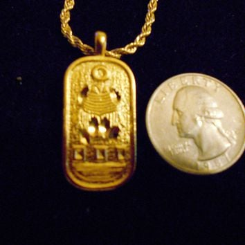 bling 14kt yellow gold plated ancient egyptian god scarab beetle bug insect Charm Pendant hip hop fantasy magic mythical myth trendy fashion 24 inch rope chain Necklace jewelry