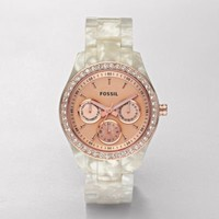 FOSSIL Watch Styles Natural Watches:Women Stella Resin Watch - Pearlized White with Rose ES2887