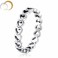 Linked Love Openwork Heart Stackable Finger Ring 925 Sterling Silver Rings For Women Engagement & Wedding Jewelry P32
