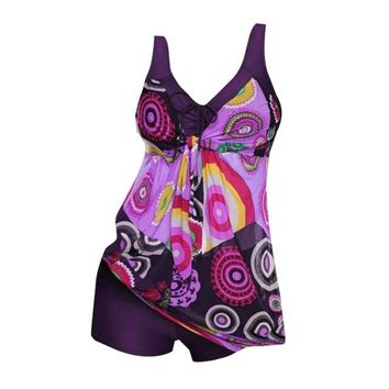 New Swimsuit Women Tankini Plus Size Swimwear Two Piece Swimsuit Push Up Bikini Set Halter Tankini Bathing Suits Beach Wear