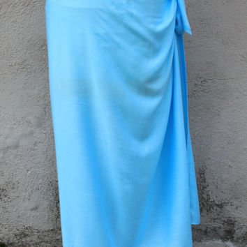 LIGHT BLUE Light Turquoise-Pareo-solid color-full  and half sized-rayon- sarong, lavalava, pareau