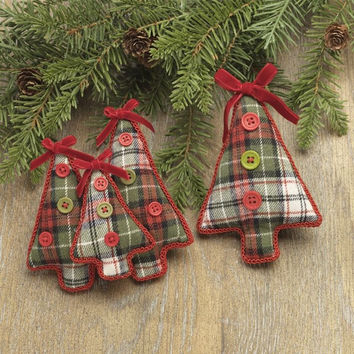 Christmas Cabin Plaid Tree Holiday Ornament 5-1/2-in