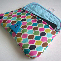 Colorful Geometric Mini Clutch / Aqua iPhone Case / Triangle / Cosmetics & Makeup Bag