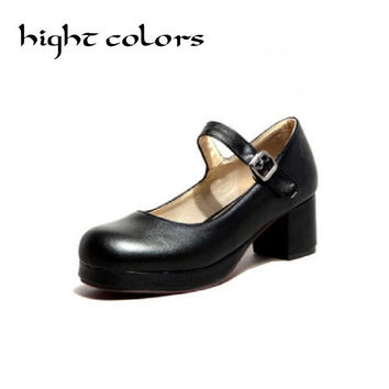 2017 New Ladies Sweet Black Candy Color Womens Mary Janes Pumps Low Heel Lolita Bowknot Shoes For Women Princess Shoes Big US 8
