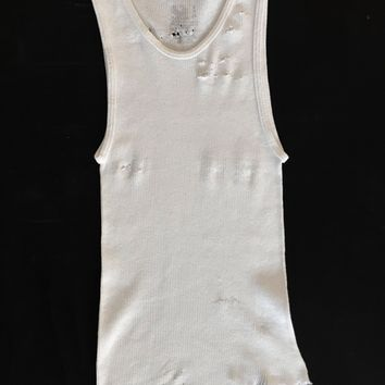 Punk Rock Lies Cutoff Distressed Tank 002 - White